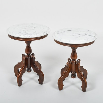 Pair of Italian Marble Top Accent Tables by Kimball Furniture - Online Furniture Auctions Vintage Furniture Auction Antique