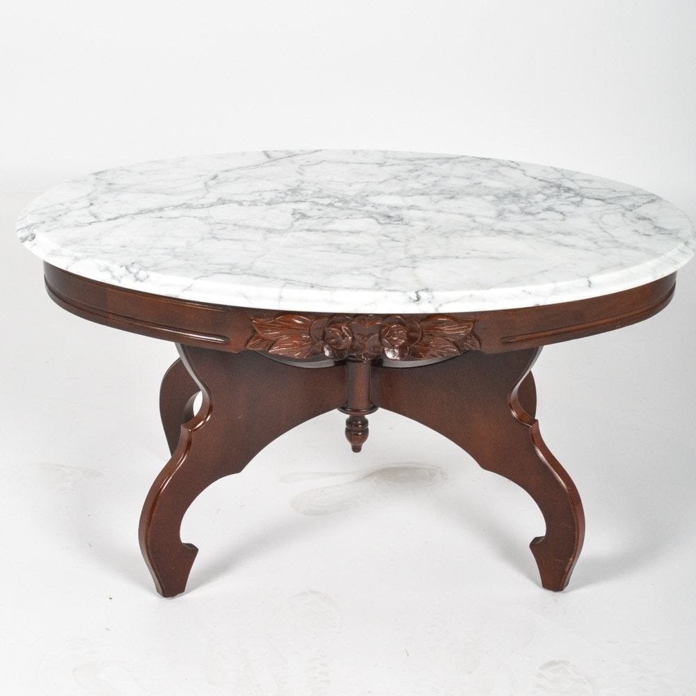 italian marble top coffee table by kimball furniture