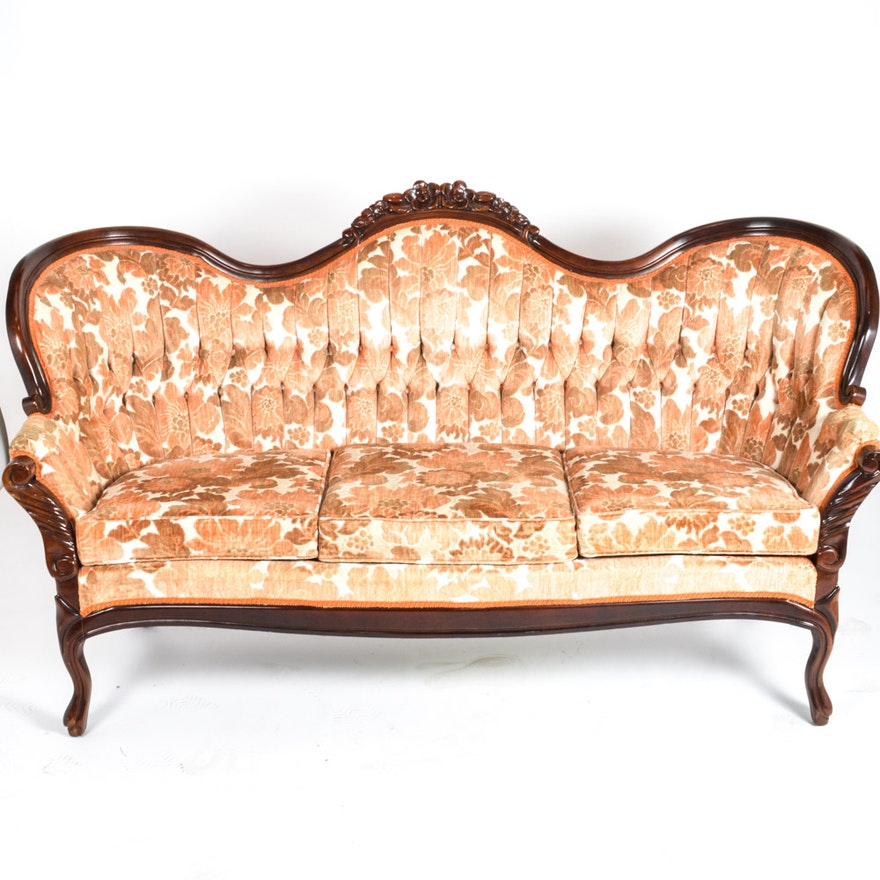 Mahogany And Velvet Victorian Style Couch By Kimball Furniture