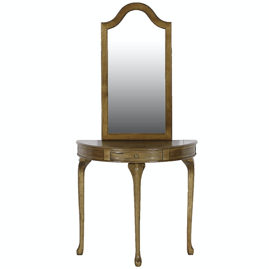 Half Moon Hall Table And Wall Mirror