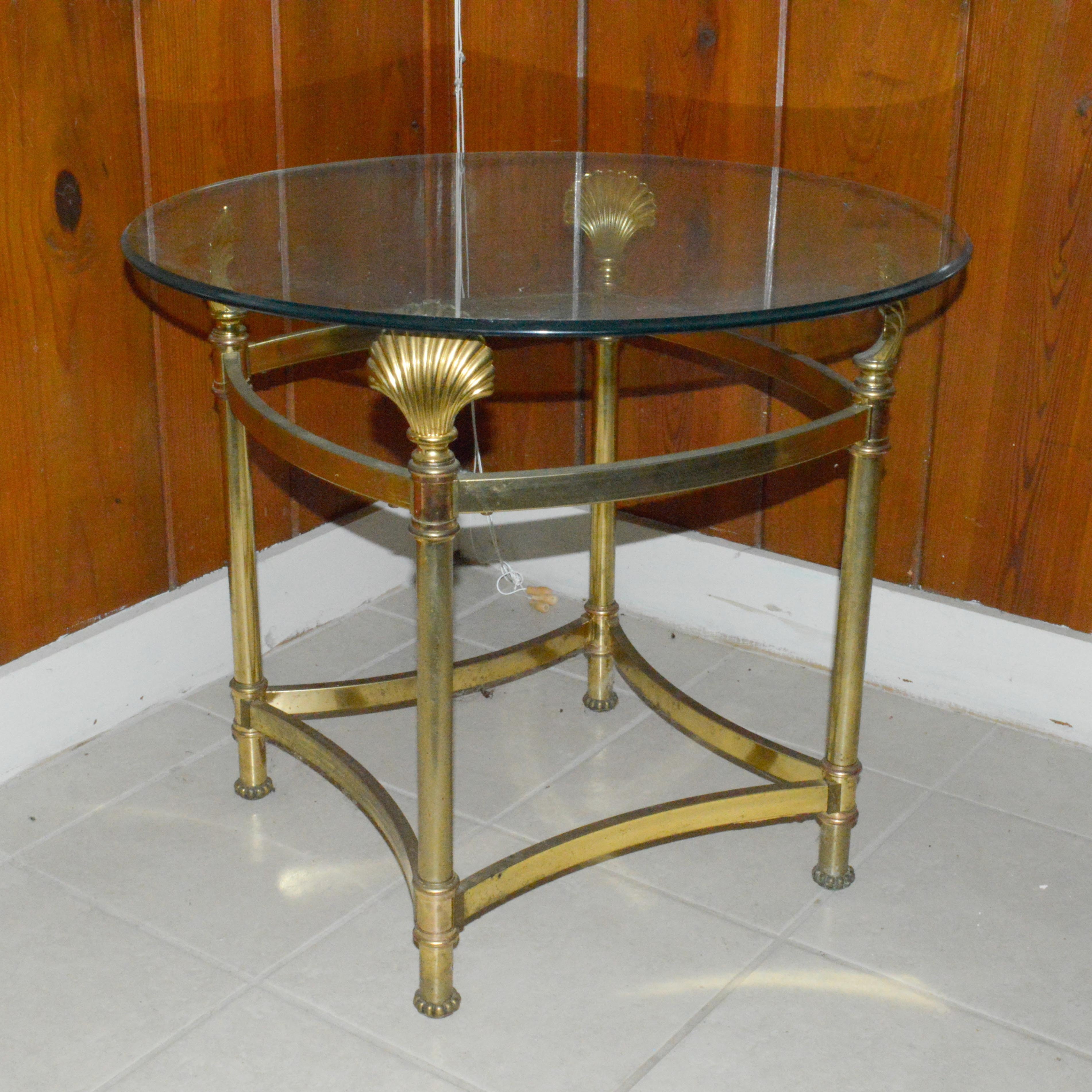 Brass Seashell Glass Top Side Table ...