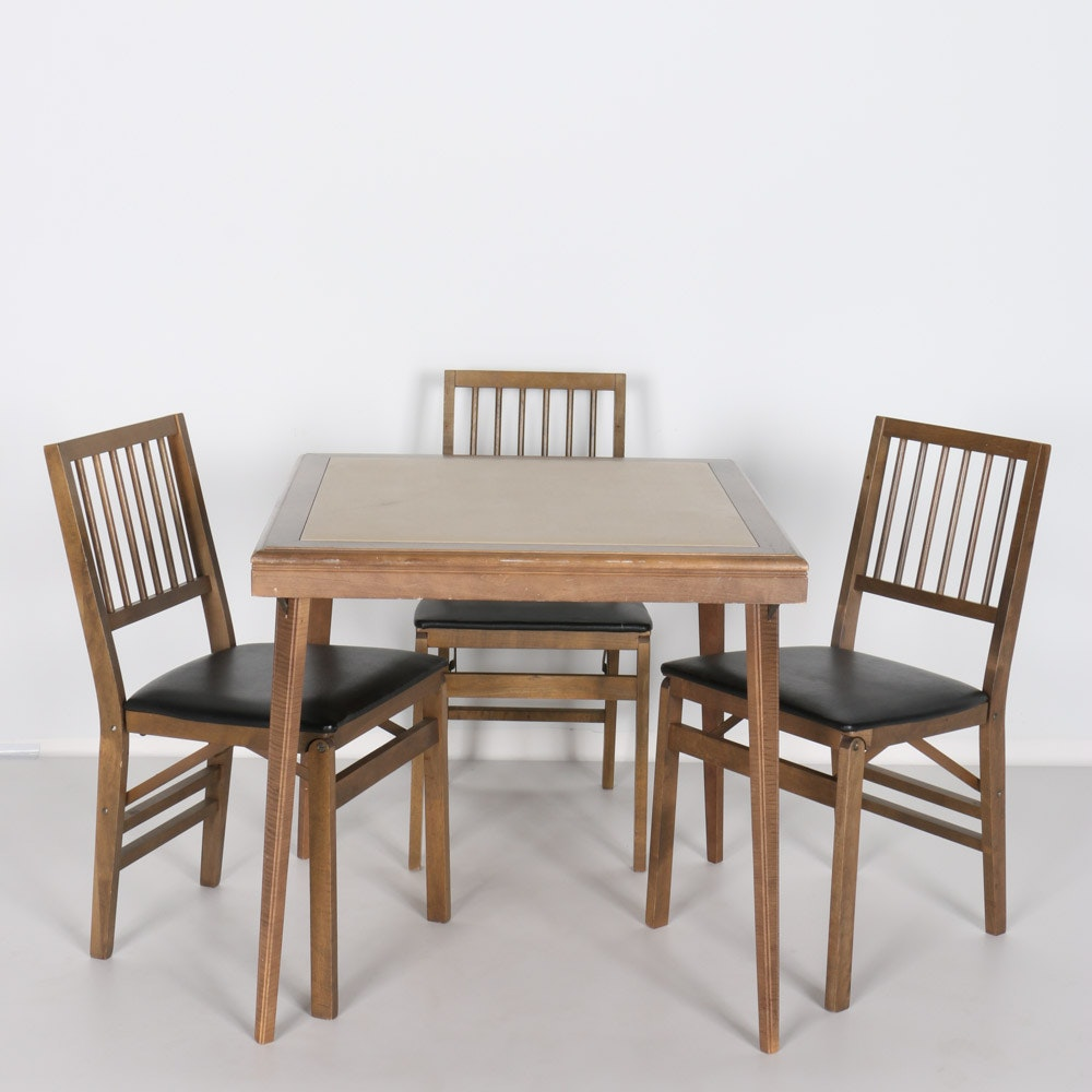 Good Vintage Folding Card Table With Three Chairs By Stakmore Co.