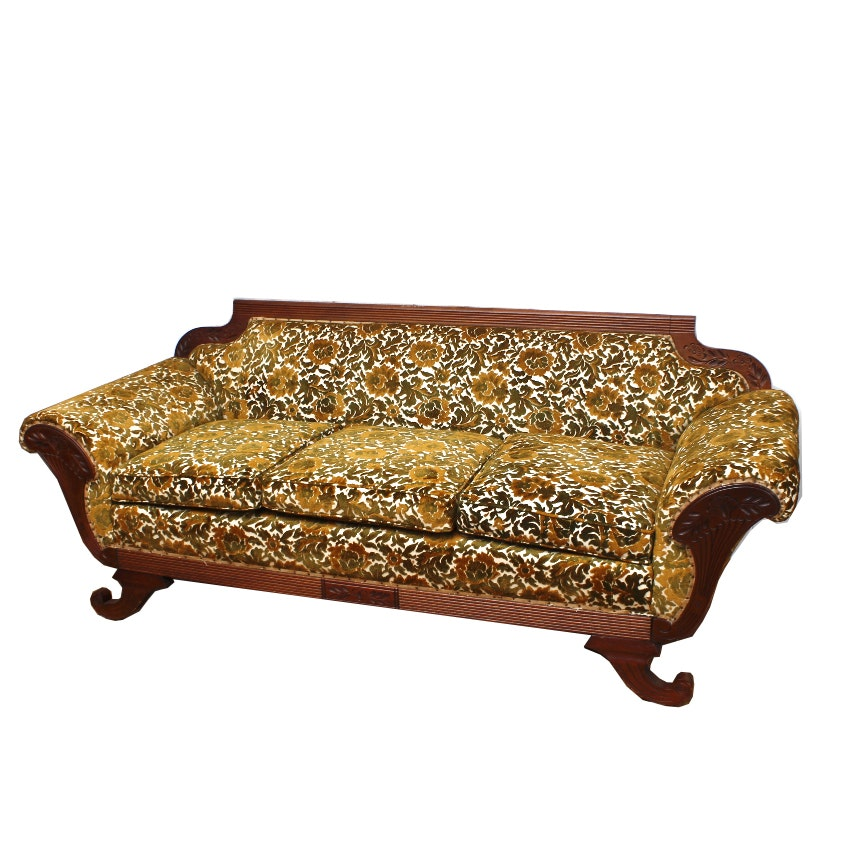 Vintage Classical Style Upholstered Sofa