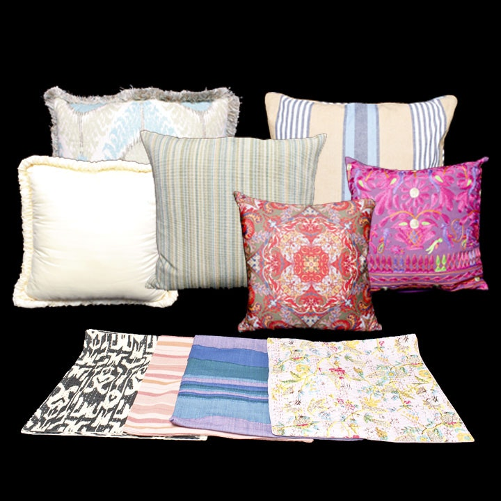 Assortment of Colorful Throw Pillows and Pillow Covers