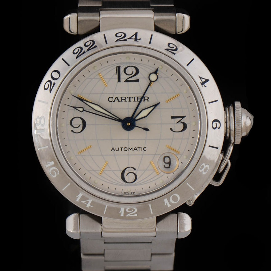 26a6cb0e3b4f0 Cartier Pasha C GMT Globe 35mm Date Stainless Steel Automatic Unisex  Wristwatch : EBTH