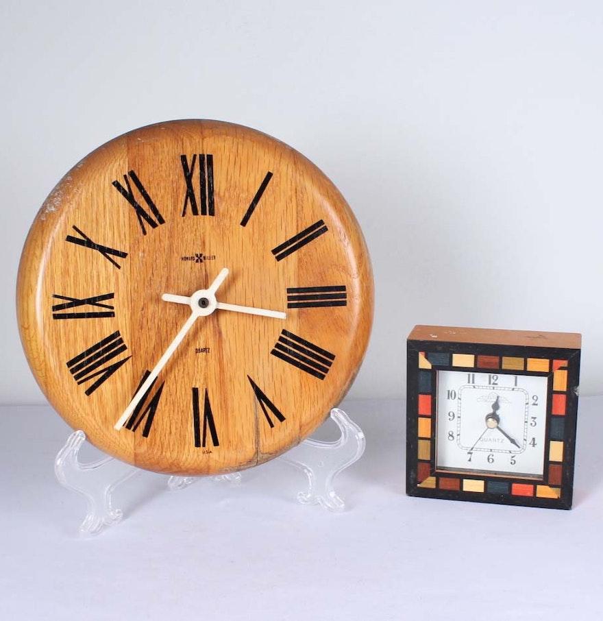 Howard Miller Wooden Wall Clock And Quartz Shelf Clock Ebth