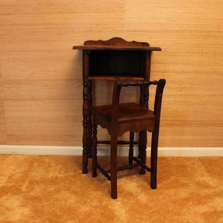 Vintage Telephone Stand and Chair by Cushman ... - Vintage Telephone Stand And Chair By Cushman : EBTH