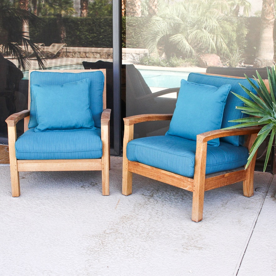 Pair of Contemporary Gloster Teak Patio Armchairs