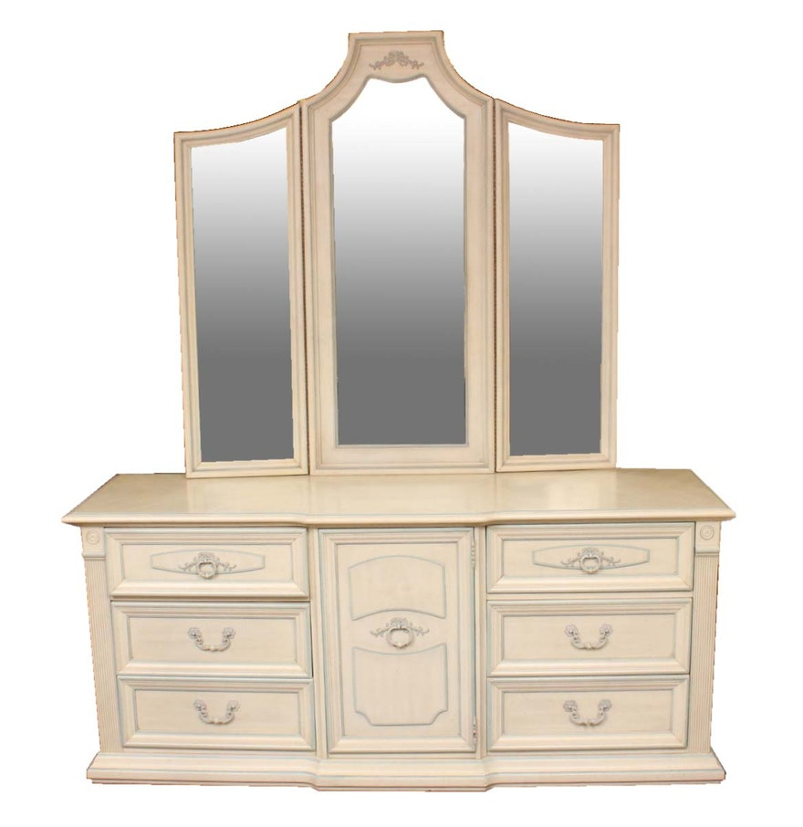 Dresser with mirror and chair - Stanley Furniture Dresser With Mirror Side Table And Chair