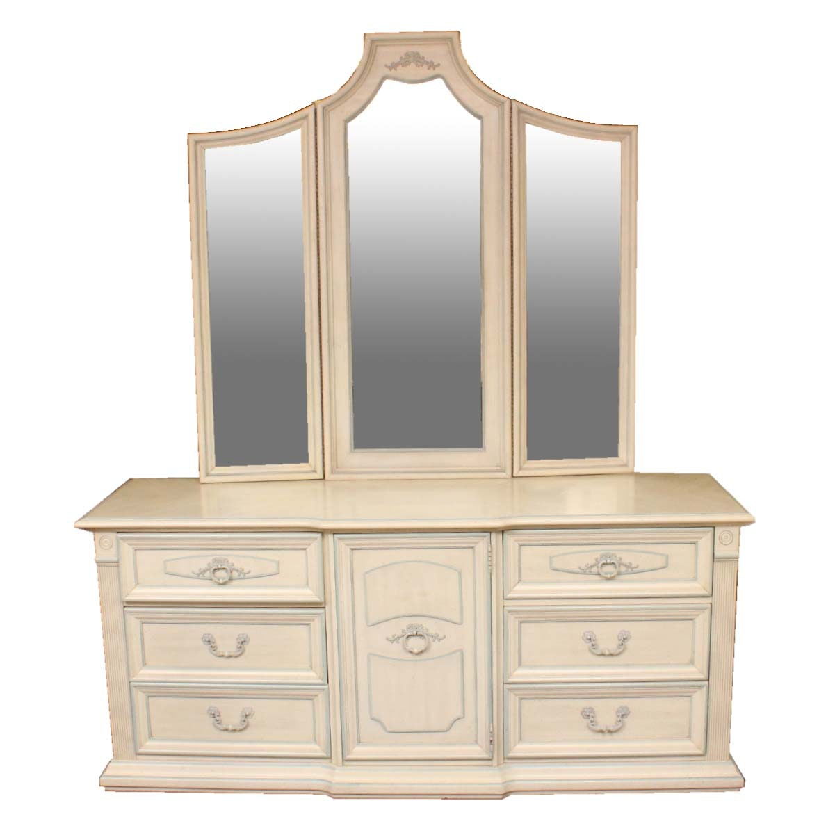 Stanley Furniture Dresser With Mirror, Side Table, And Chair ...