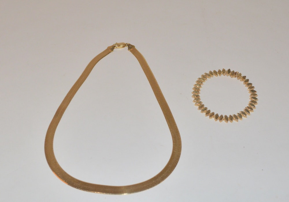 14K Yellow Gold Herringbone Necklace and Bracelet