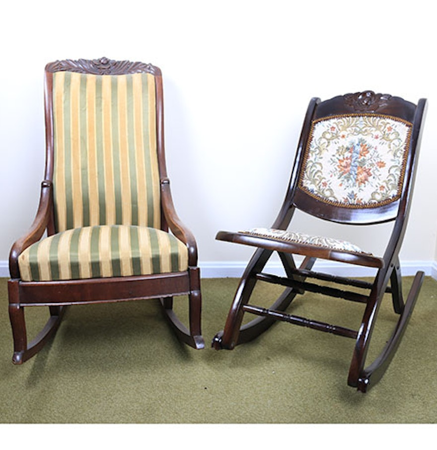 Victorian rocking chair - Late 19th Century Victorian Rocking Chair And A Vintage Folding Rocker
