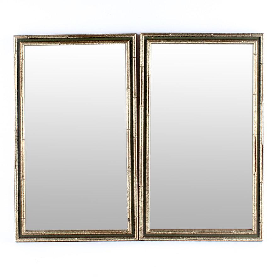73ff9044bd4 Pair of Bamboo Styled Rectangular Framed Mirrors   EBTH