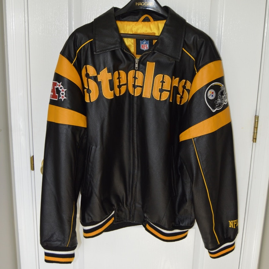 detailed pictures f34c3 d0ee3 Pittsburgh Steelers Leather Jacket