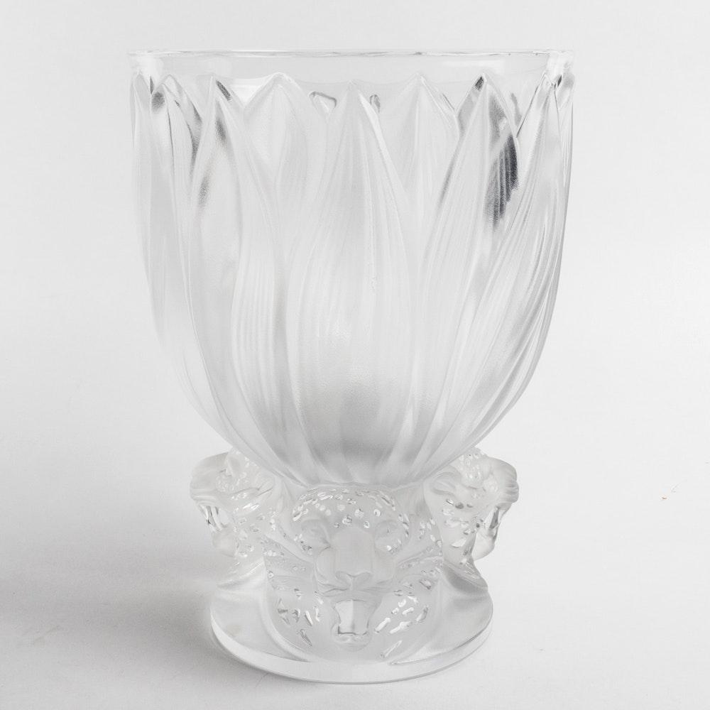 Lalique Leopard Foot Vase