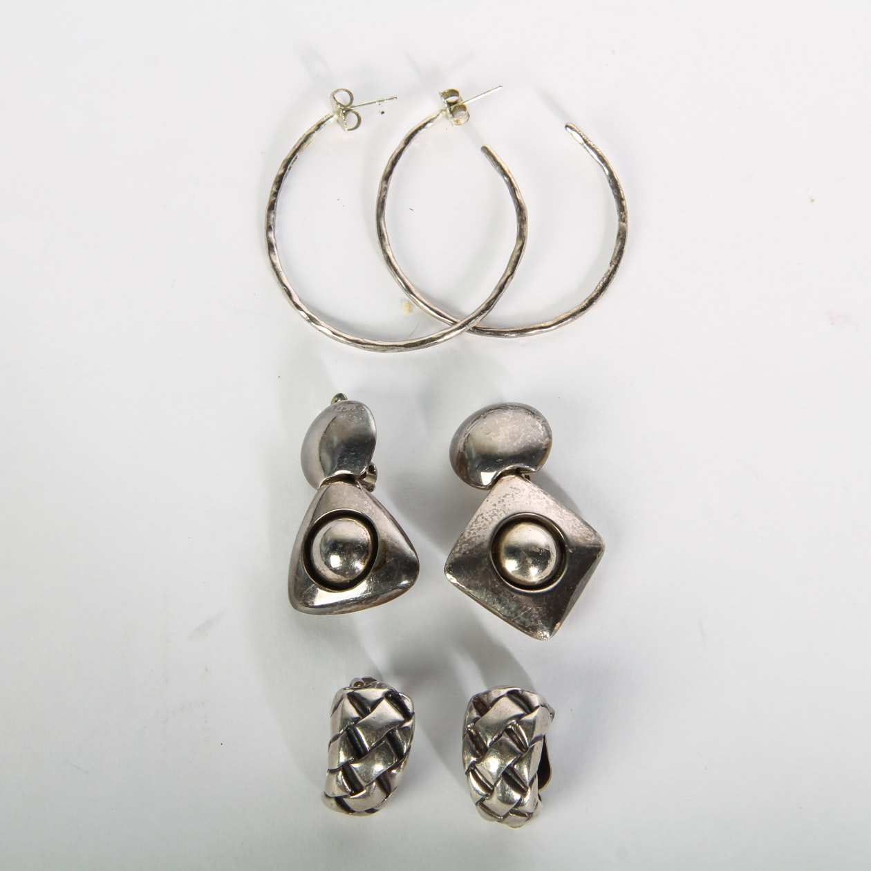 Set of 3 Sterling Silver Earring Sets