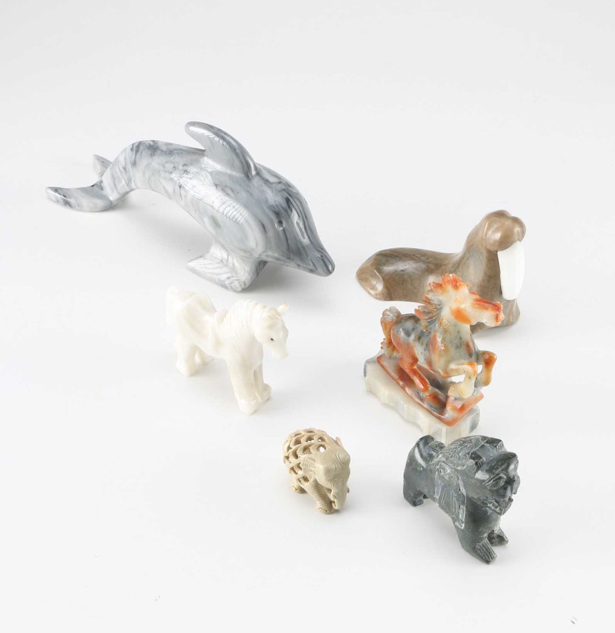 Stone Animal Figures : Collection of stone animal figurines ebth