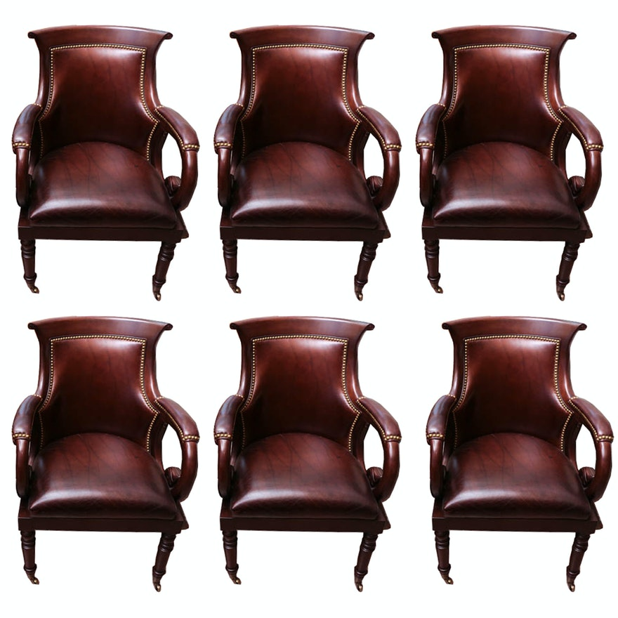 set of hancock moore leather captains chairs ebth