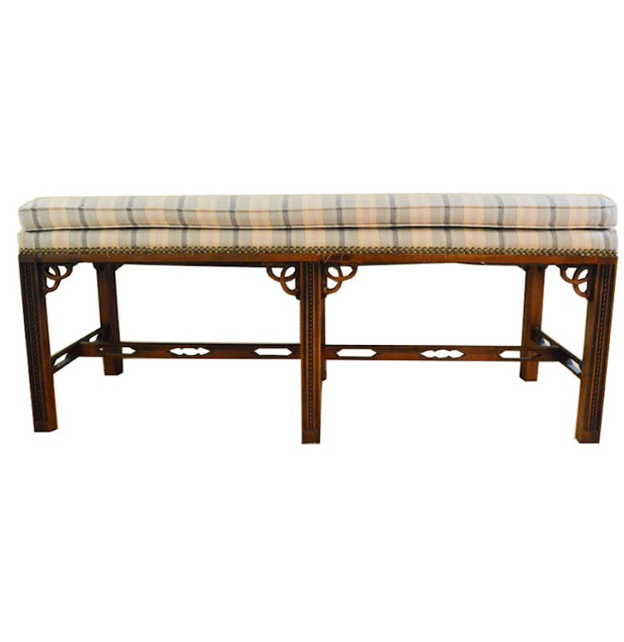 Cushioned Chinese Chippendale Style Mahogany Bench Ebth