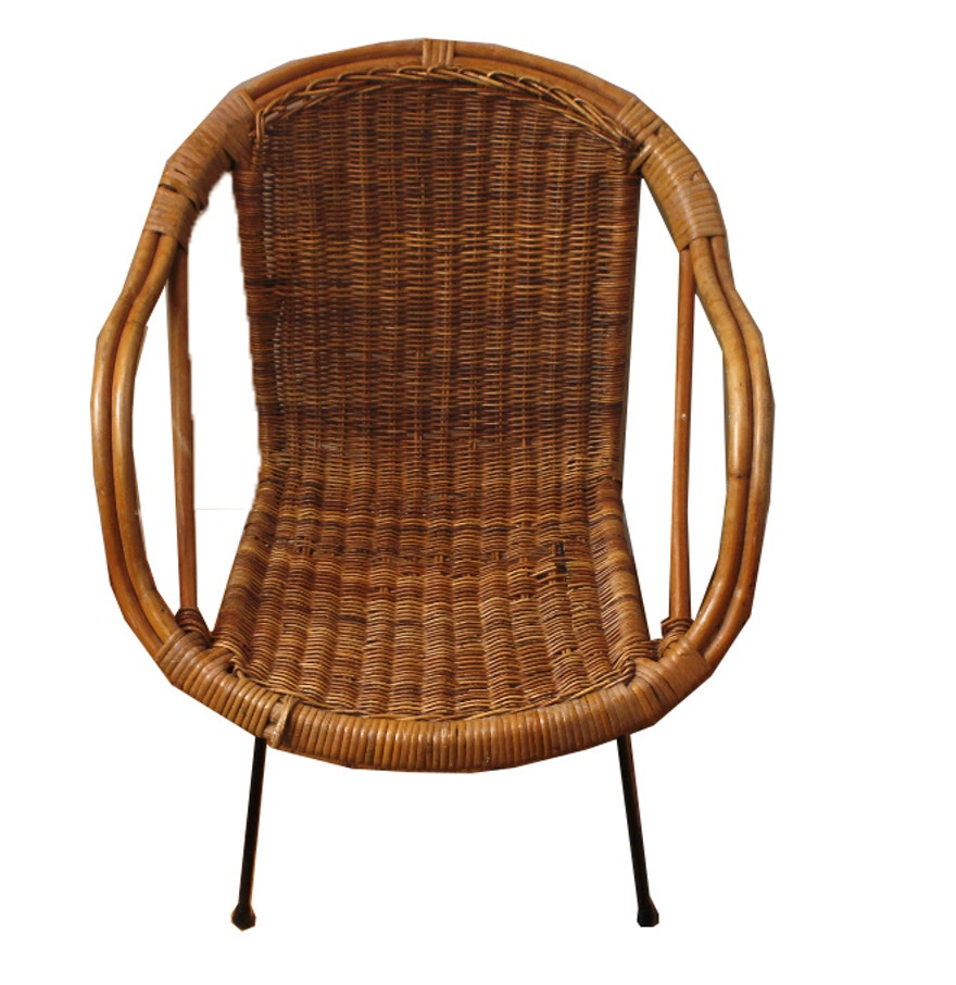 Modern rattan wicker and iron chair ebth for Cane and wicker world
