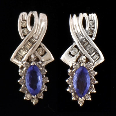 Pair Of 14k White Gold Tanzanite And Diamond Post Earrings