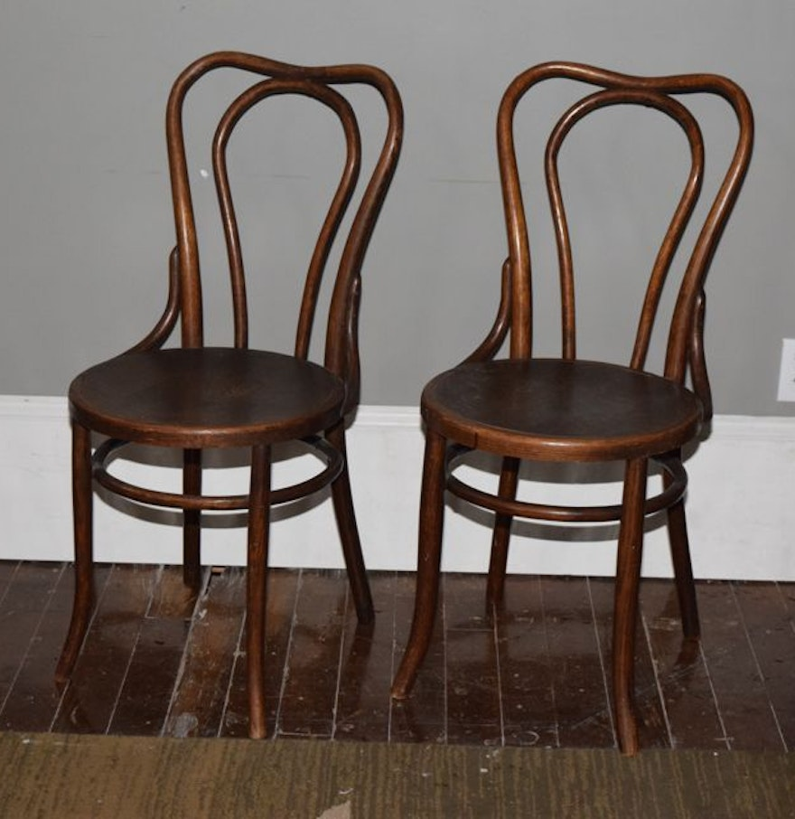 Antique Bentwood Chairs with Tiger Oak Seats : EBTH