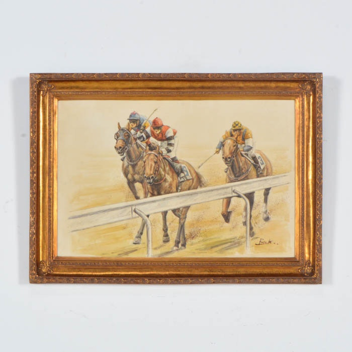 Oil on canvas epsom downs final stretch by guillamo for 2b cuisine epsom downs