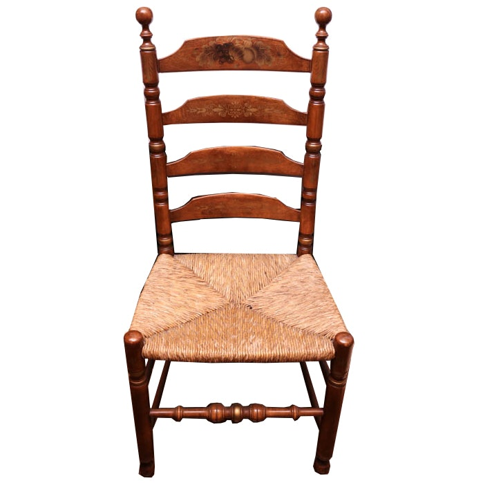 Hitchcock Hand Painted Ladder Back Rush Seat Chair ...