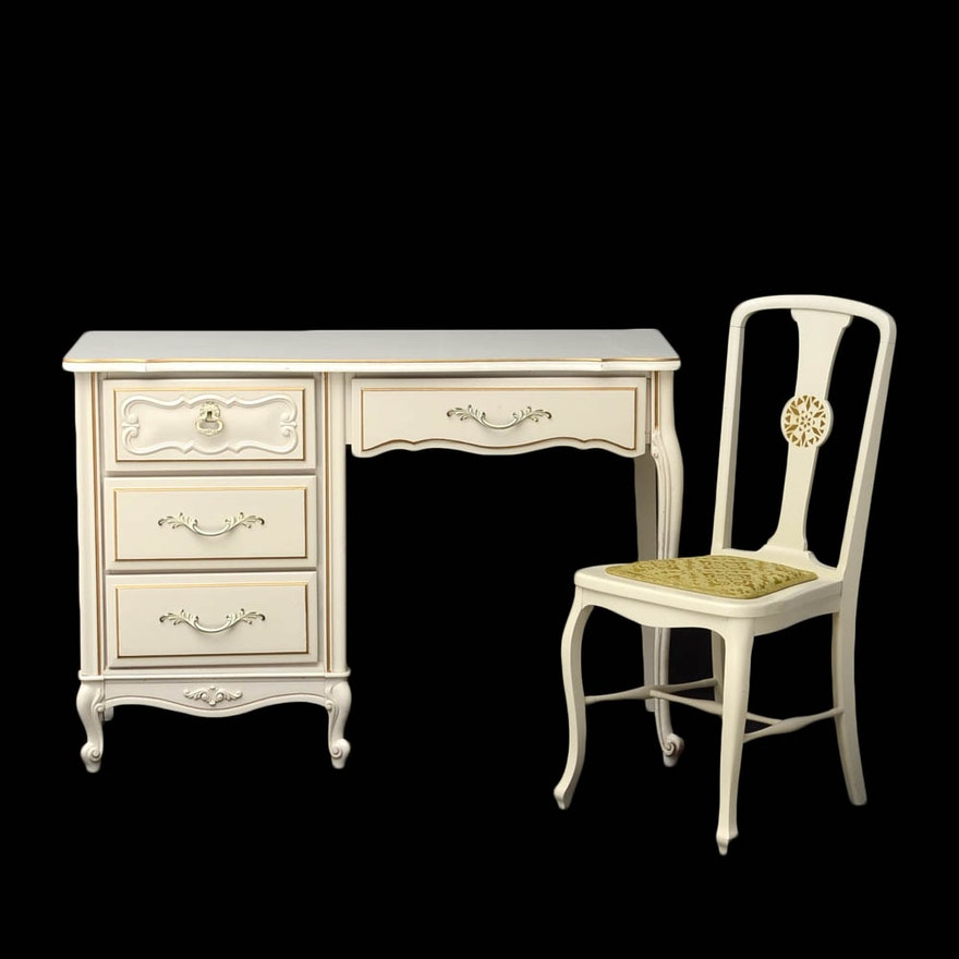 Dixie Vintage French Provincial Desk With Chair