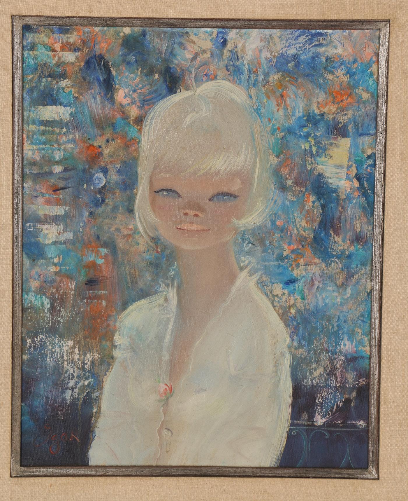 Listed Artist IGOR PANTUHOFF Oil Painting On Board Signed Girl