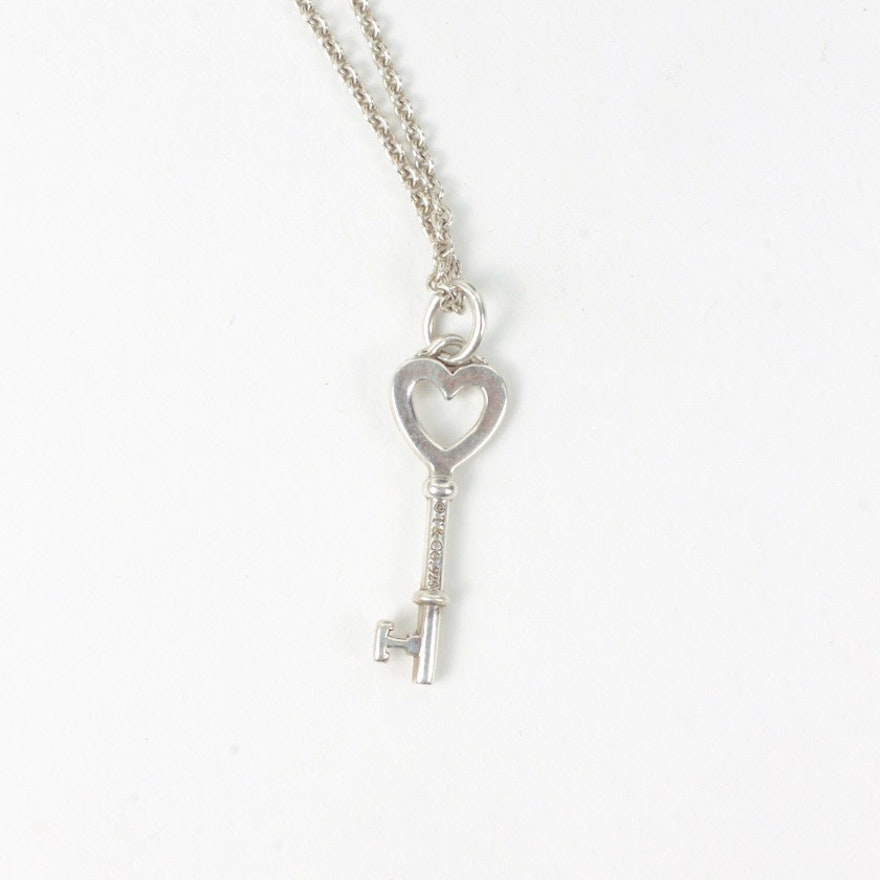 Tiffany co sterling silver heart key pendant necklace ebth tiffany co sterling silver heart key pendant necklace aloadofball Image collections