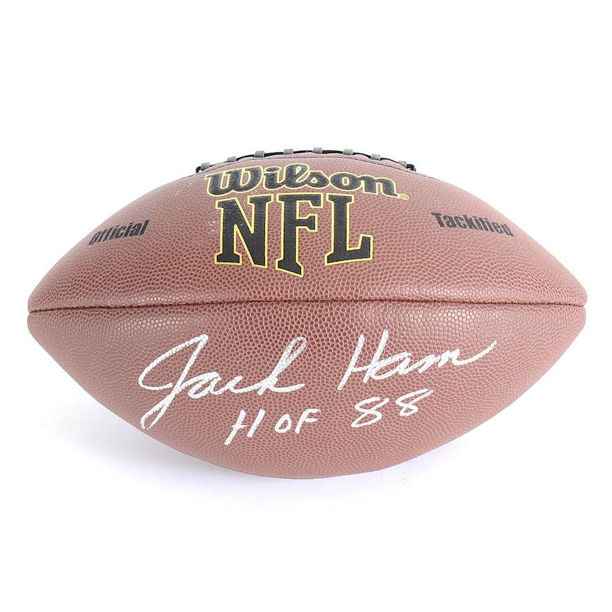 87c9fcd7d (HOF) Jack Ham Pittsburgh Steelers Signed Wilson Football JSA COA   EBTH