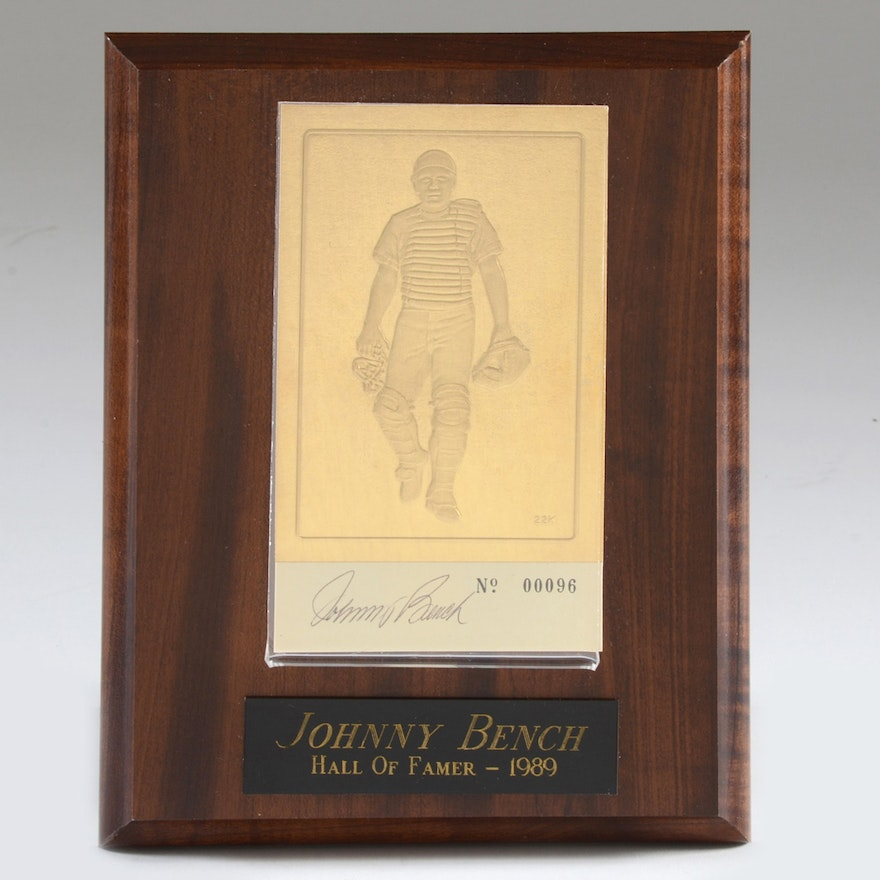 1989 Johnny Bench Hof Signed Gold Plated Baseball Card On Wood Plaque