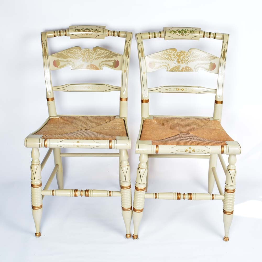 Pair Of Ethan Allen Hitchcock Stenciled Side Chairs ...