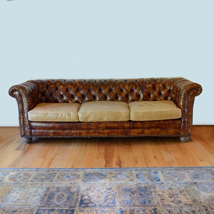 Vintage Leather Chesterfield Sofa Ebth