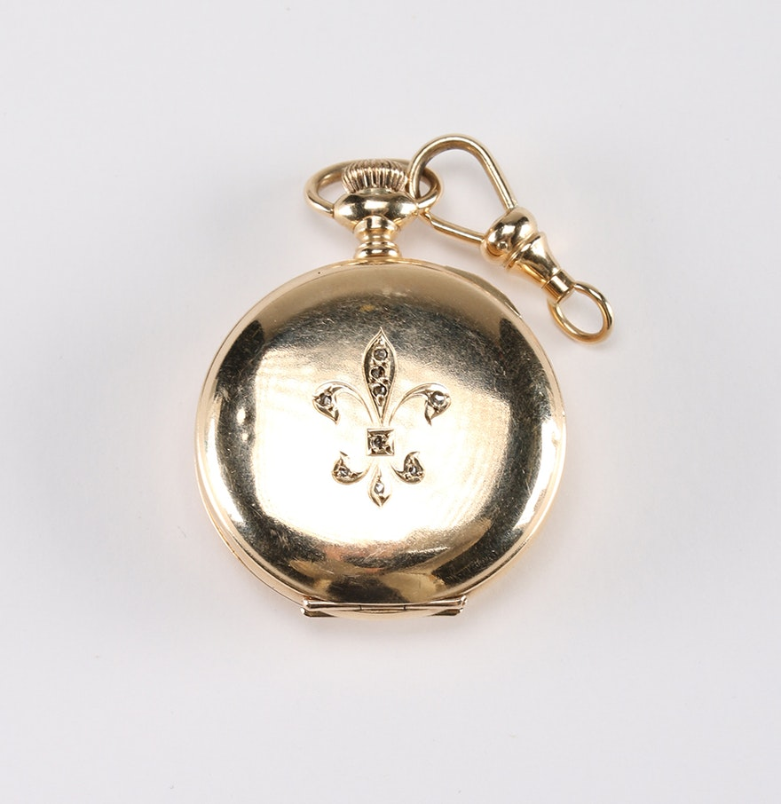 14k yellow gold marks lewy pocket watch ebth for Best place to sell gold jewelry in chicago