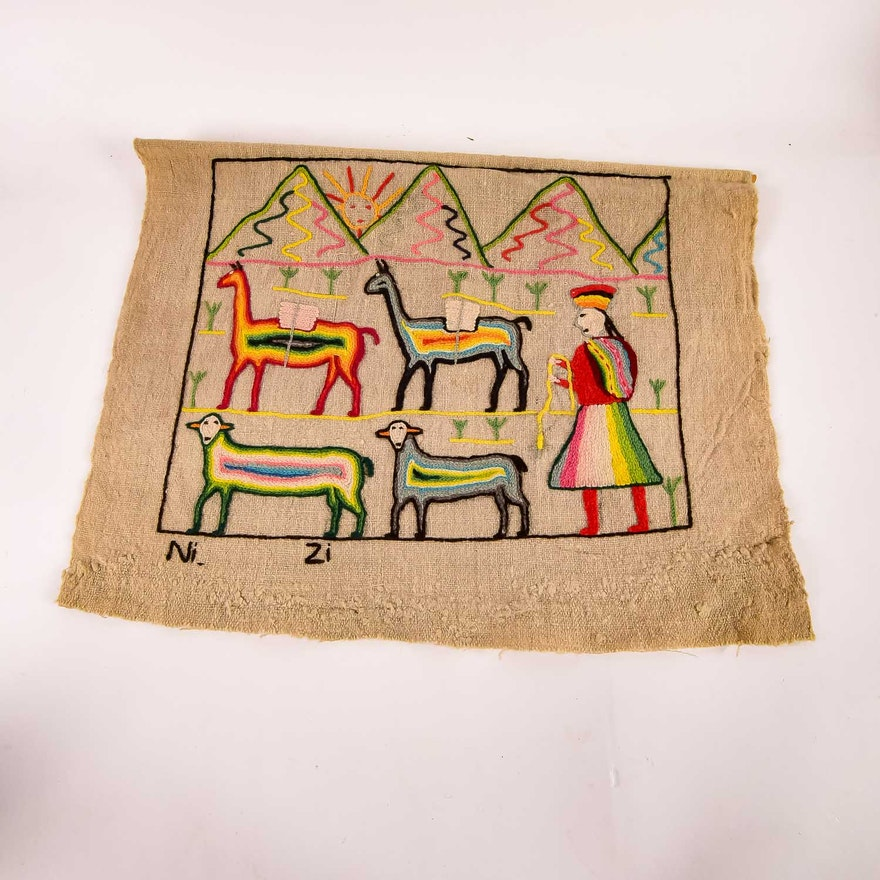 Hand Made Peruvian Needlework Wall Hanging : EBTH