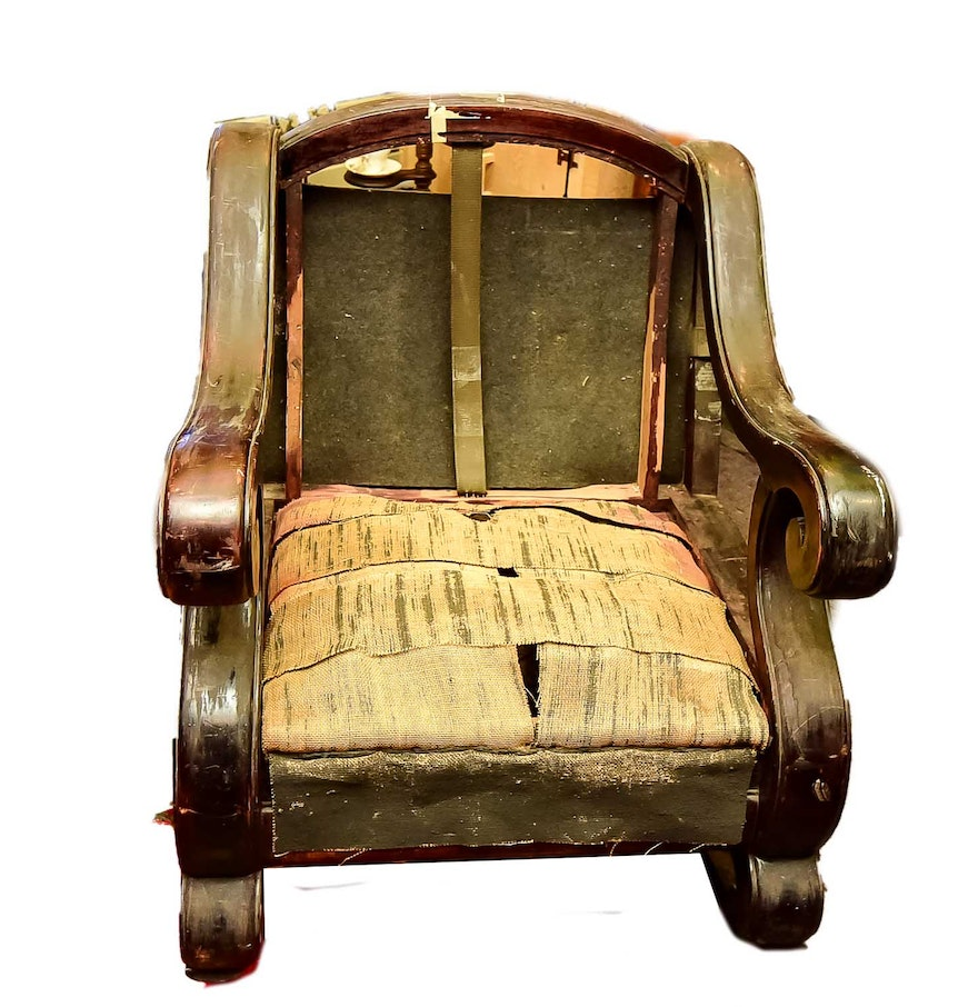 Antique Empire Style Wood Rocking Chair Frame ... - Antique Empire Style Wood Rocking Chair Frame : EBTH