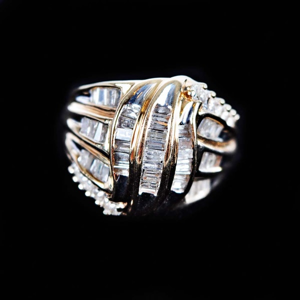 14k diamond waterfall style ring ebth for Waterfall design ring