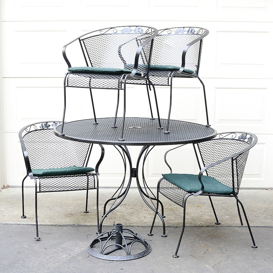 Black Mesh Metal Patio Table With Chairs Ebth