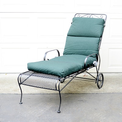 Outdoor furniture outdoor decor and garden tools auction for Black metal chaise lounge outdoor