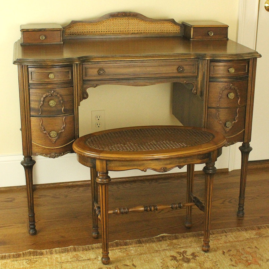 Swell Vintage Provincial Louis Xvi Style Vanity And Stool Caraccident5 Cool Chair Designs And Ideas Caraccident5Info