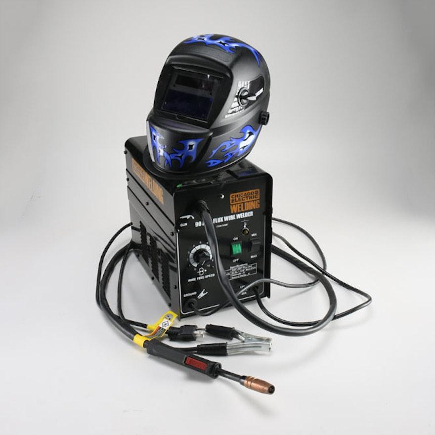 Chicago Electric Flux Wire Welder and Welder\'s Helmet : EBTH