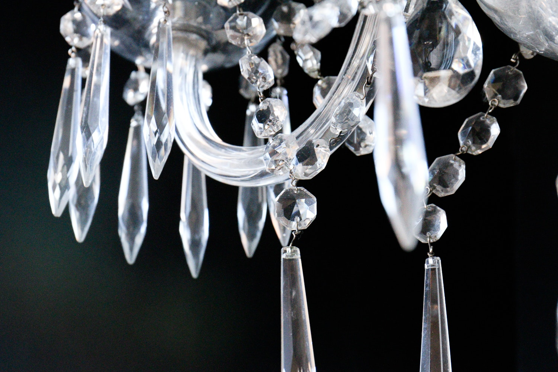 Crystal Hurricane Lamp Chandelier Ebth
