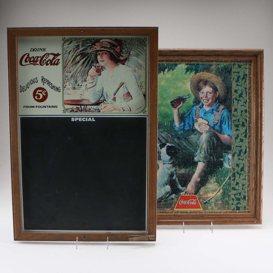 coke chalk board and framed puzzle art ebth