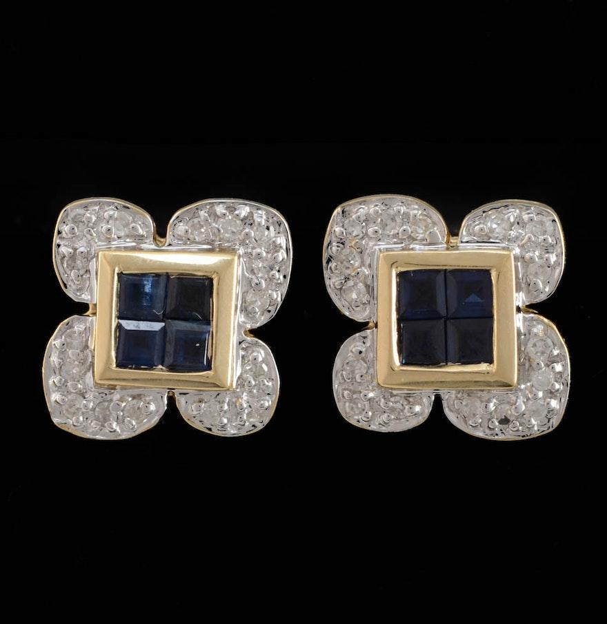 14k yellow gold synthetic blue sapphire diamond stud. Black Bedroom Furniture Sets. Home Design Ideas