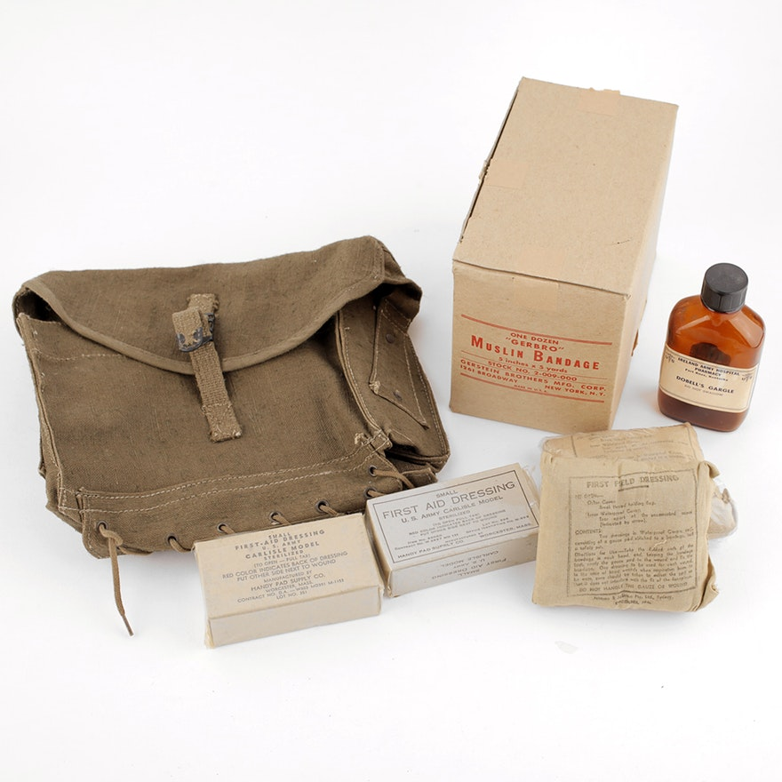 b3897859ed World War II Era Medical Supplies with Green Canvas Medic Bag   EBTH