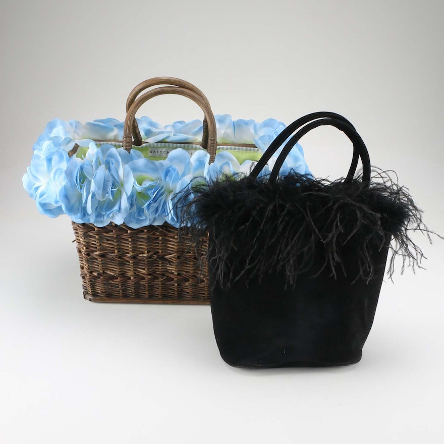 Gretchen Scott Basket Purse With Murval Black Faux Feather