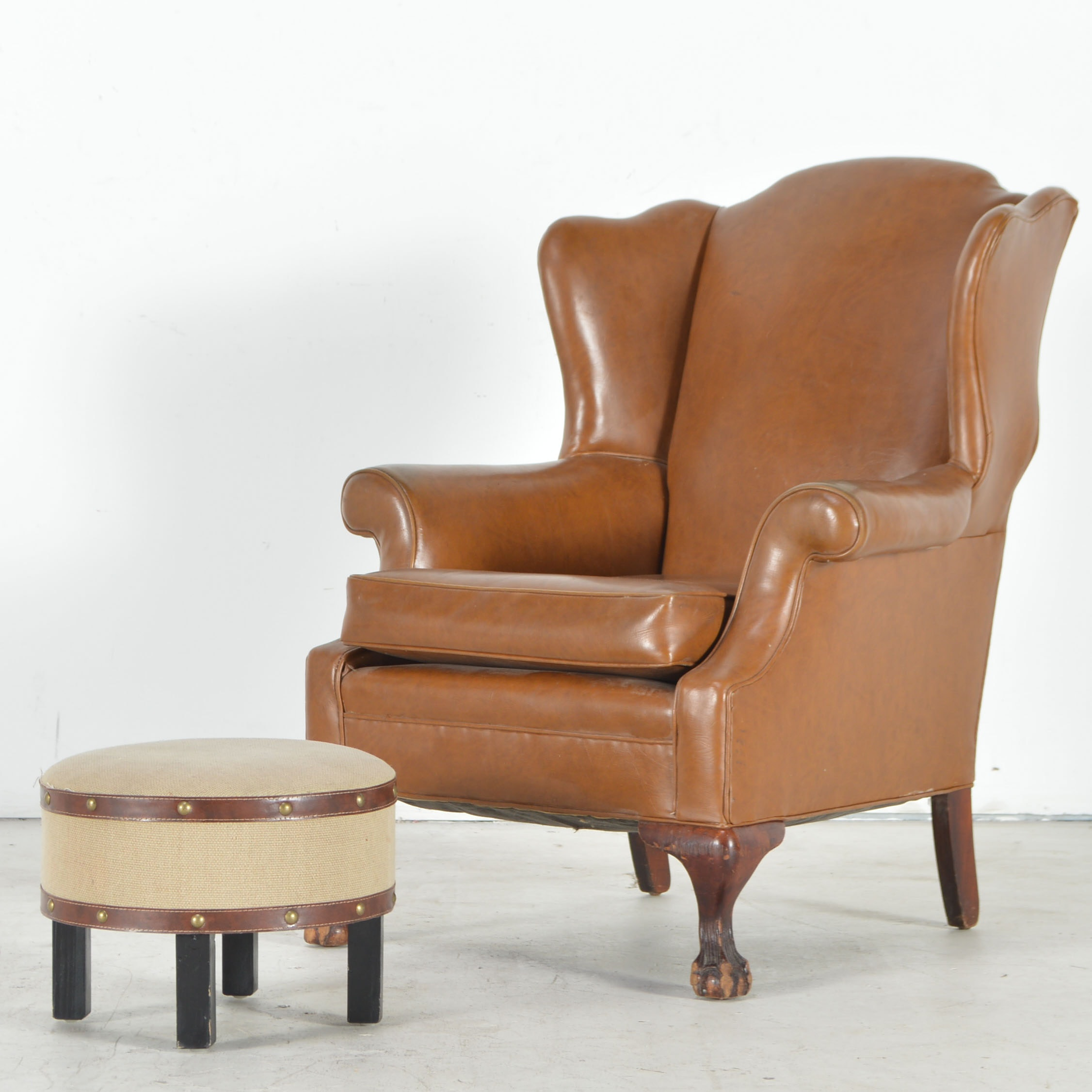 Faux Leather Wingback Chair And Ottoman ...