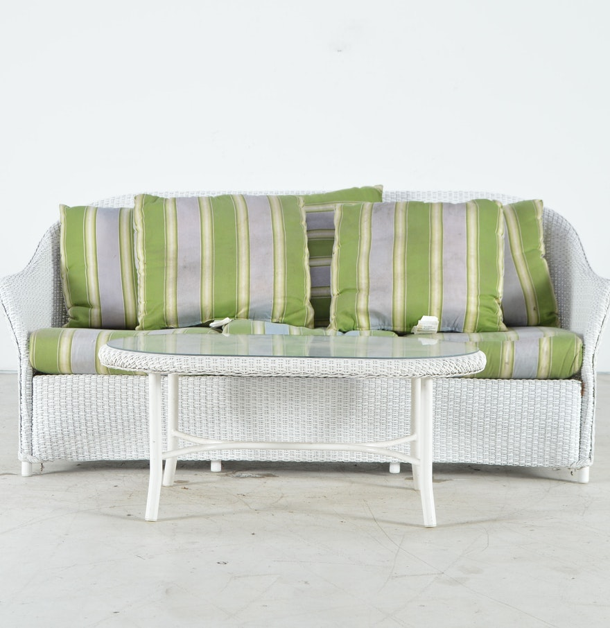 White Wicker Patio Sofa And Coffee Table Ebth